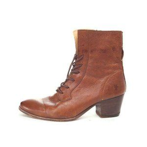 FRYE courtney boots lace up zip up leather womens